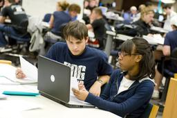 Students receive tutoring at the Learning Resource Center at the Homer Babbidge Library.